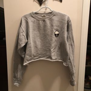 grey cropped crew neck from pacsun